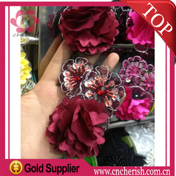 Guangzhou bridal bead lace appliques charm sexy red wine chiffon flower lace for dress