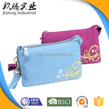 Wholesale Zipper Closure Custom Canvas Purse Pouch with Hand Strap