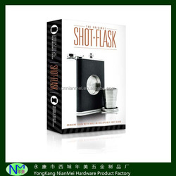 The Original Shot Flask - 8oz Hip Flask with a Built-in folding Shot Glass - Stainless Steel with Premium Bonded Leather