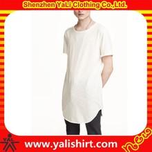 2015 custom plain 100%rayon white short sleeve mix size men rounded hem t shirt