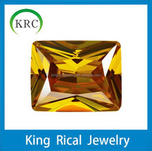Rectangle Faceted Cut Golden Yellow CZ Stone