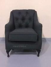 concise design black one seat sofa vintage, black fabric sofa