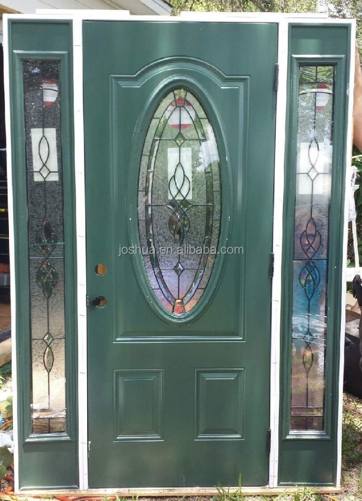 Leaded Glass Front Exterior Entry Door With Sidelites Buy Oval Glass Entry