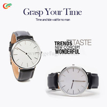 alibaba express 2015 fashion ultrathin leather watch design for men gold slim stainless steel case leather quartz watch