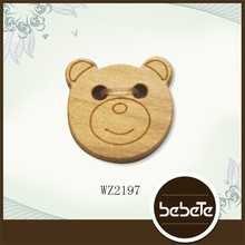 custom cute bear shaped laser engraved wooden buttons for kids