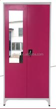 (DL-S3) Knock Down Modern Design Indian Bedroom Furniture Metal Wardrobe with Mirror / 2 Door Steel Wardrobe Cabinet / Closet