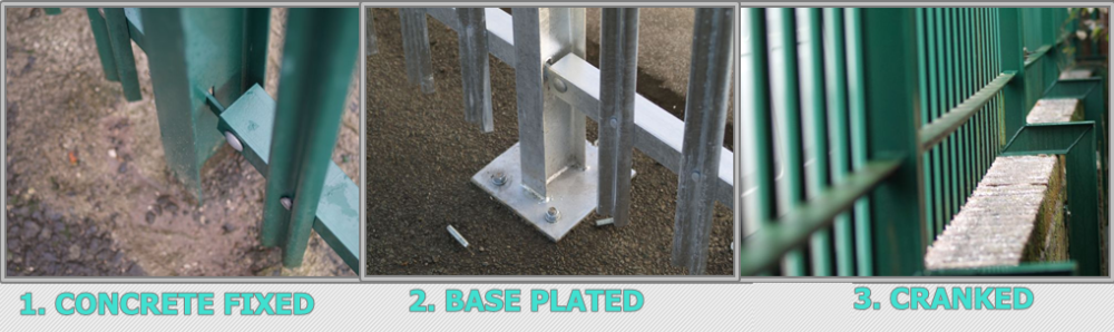 Triple pointed and splayed steel palisade fence and gate 6.png