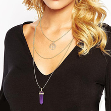 Long Gold Chains Multilayer Hexagon Bullet Natural Stone Pendants Necklace For Lady