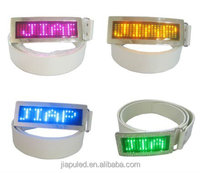 2015 led belt buckle with White LED pu belts and buckles with high quality