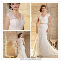 Exquisite Mermaid Sweep/Brush V Neck Lace Aliexpress Wedding Dresses For Fat Woman