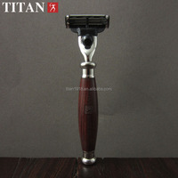 Titan razor , hair removal 3 layers blade razor with wooden handle ,match march 3 blade