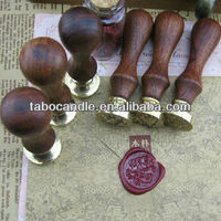 Initial Wax Seal Kit with Brown Wood Handle & Gold Wax