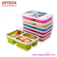 silicone 3 compartment lunch box food containers for kids