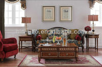 Traditional Antique Floral Living Room Furniture, Luxury Wood Carved Sofa, Elegant French Style Replica Furniture Set