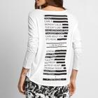 Fornecedor de China impresso Camiseta/Blusa de algodão anga Longa/Branco Camiseta