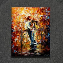 Palette knife thick oil painting romantic boy and girl