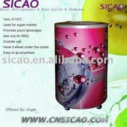 Round Barrel Beverage Cooler for Coca Cola