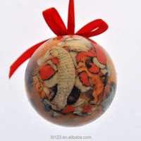 2014 8CM Christmas Decorative Paper Ball with high glossy logo printed sata papa