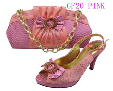 GF20-Pink genuine leather italian matching shoes and bags