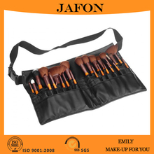 Brown nylon hair professional 25pcs makeup brush set with belt leather bag