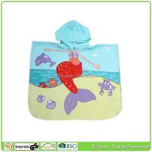 velvet mermaid printed kid beach towel hooded