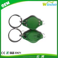 Winho plastic green mini LED light torch key with white light