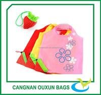 Small reusable polyester fruit folding shopping anime bags