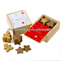 Printed wood small kraft paper cookie boxes with tray