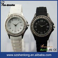 Fashion jewelry quartz watch with silicone strap