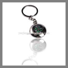 Hot sale custom shape zinc alloy engraved compass keychain