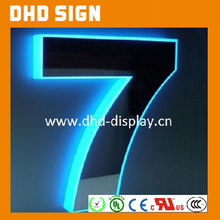 Waterproof illuminated Backlit Stainless Steel Number