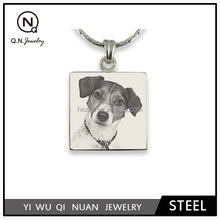 steel photo engraved square pendant for pet