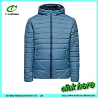 Elasticated hem and cuffs hooded nylon basic puffer jacket with zipped through for winter