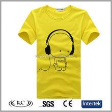 cheap price popular 100% cotton woman yellow music tee shirts