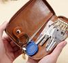 Yellow PU leather keychain case custom bag