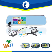 5.0 inch screen 1080P android WiFi GPS rearview mirror car gps with dvr