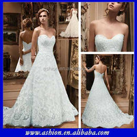 WE-1857 Strapless sweetheart neckline lace wedding gown lace overlay wedding gown 2014