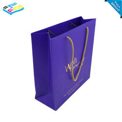 hot sale laminated printed jewelry paper shopping bag with gold stamping logo