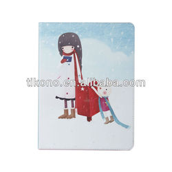 Lovely lonely girl stand pu leather flip case for ipad mini