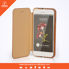 2015 brown flip cover genuine leather wholesale cell phone case for iphone 6