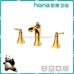 Double handle gold plated royal faucet