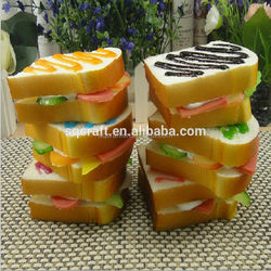 Promotional artificial toast piece | Decorative plastic bread for display / Yiwu Sanqi Crafts -Fake food manufacturer