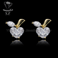 Girls fashionable clear natural stone apple fruit shaped gold plated stud earrings