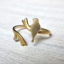 gold leaf rings,plain animal shape cute bird ring jewelry