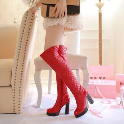 ENMAYER New 2015 Round Toe Sexy Square Heel Over The Knee Boots,