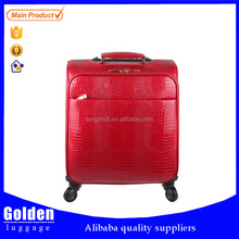 small size cabin luggage leather material waterproof air travel luggage lady's red color hot trolley case