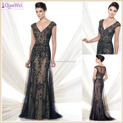 2015 new long off shoulder V neck mermaid lace black formal evening dress