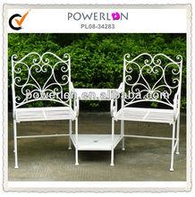 Elegant anqitue white wrought iron outdoor garden furniture