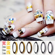 Wholesale gold silver colorful nail decoration 1mm/2mm/3mm nail striping tape nail art line ZX:NL506