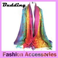 2015 lastest fashion colourful rose pattern jacquard Pashmina scarves